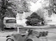 View from the original Driveway, looking North towards the Chapel & Kimberley Block. The bus is where Rowan Hall now stands.