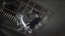 Falling from the President balcony, through (fictitious) glass ceiling.
