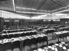 The Refectory dining room with it's unusual roof.