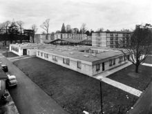 View from the top of the Workshop Block over the campus and the Refectory halls.