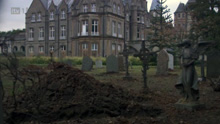 President Hall doubling as a hospital complete with graveyard.